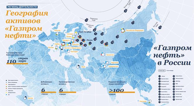 География активов «Газпром нефти»