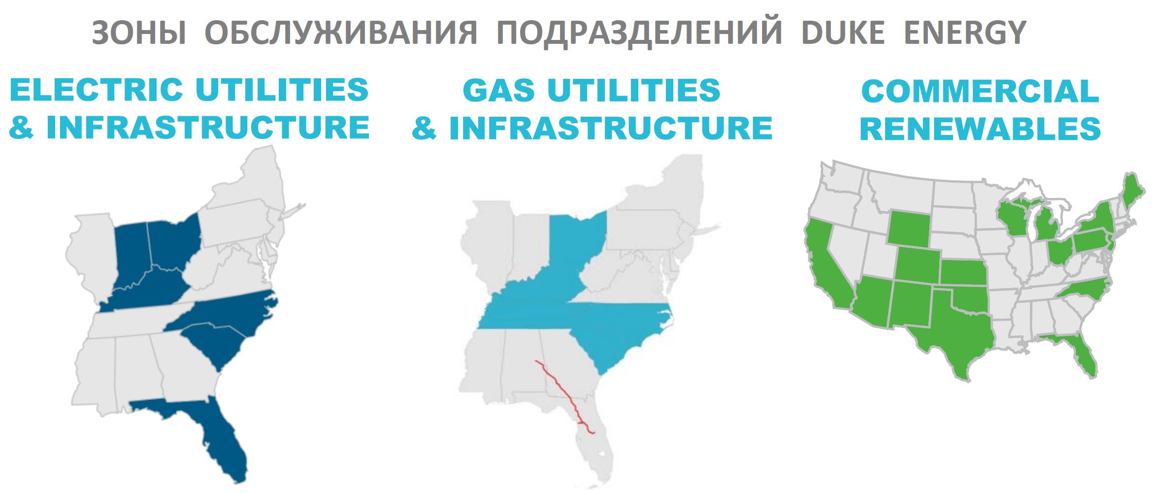 Зоны обслуживания подразделений Duke Energy