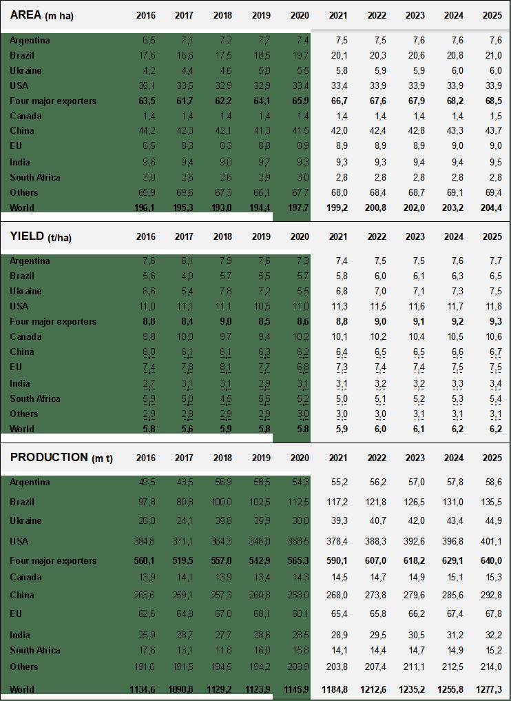 Посевные площади, урожайность и производство кукурузы
