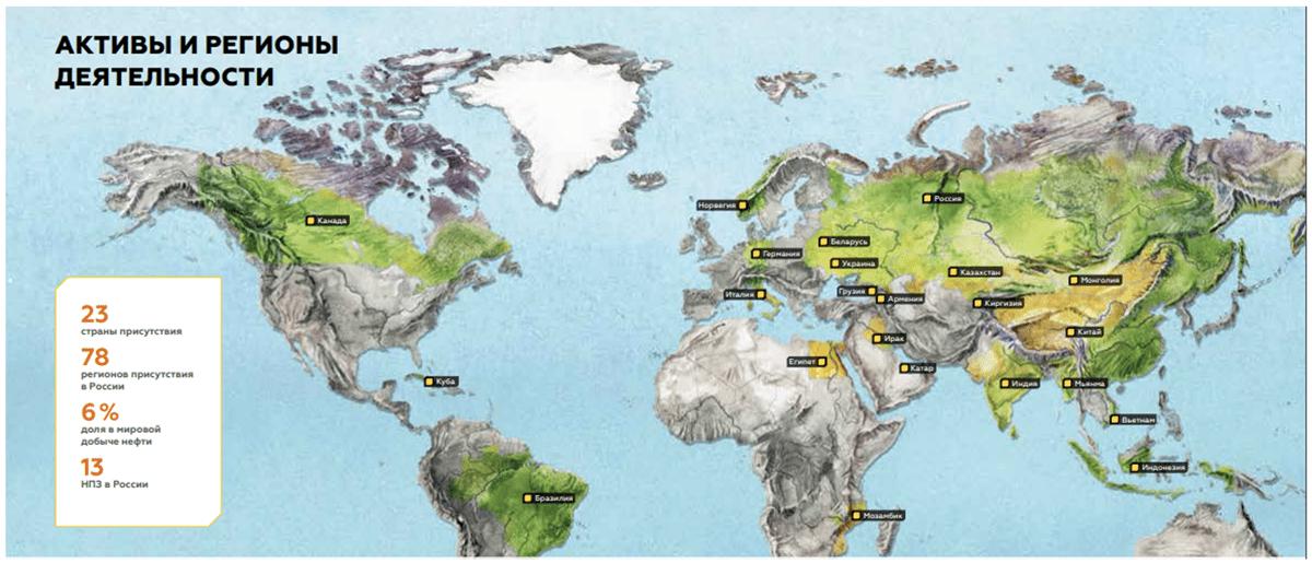 Активы Роснефти и регионы деятельности